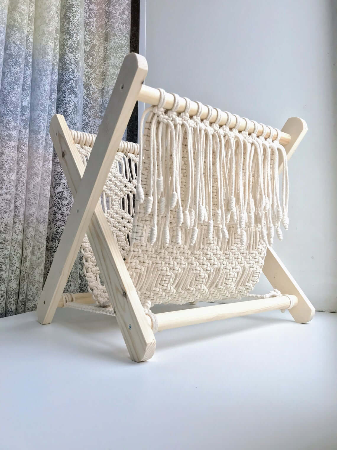 Timeless White Folding Macrame Magazine Rack