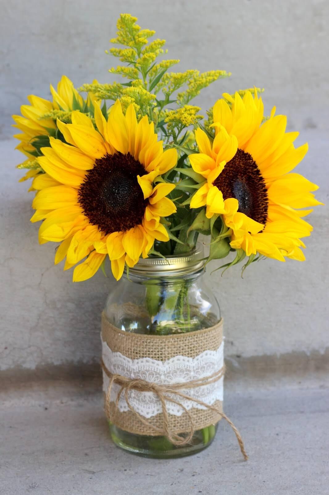 Burlap and Lace Sunflower Mason Jar Vase