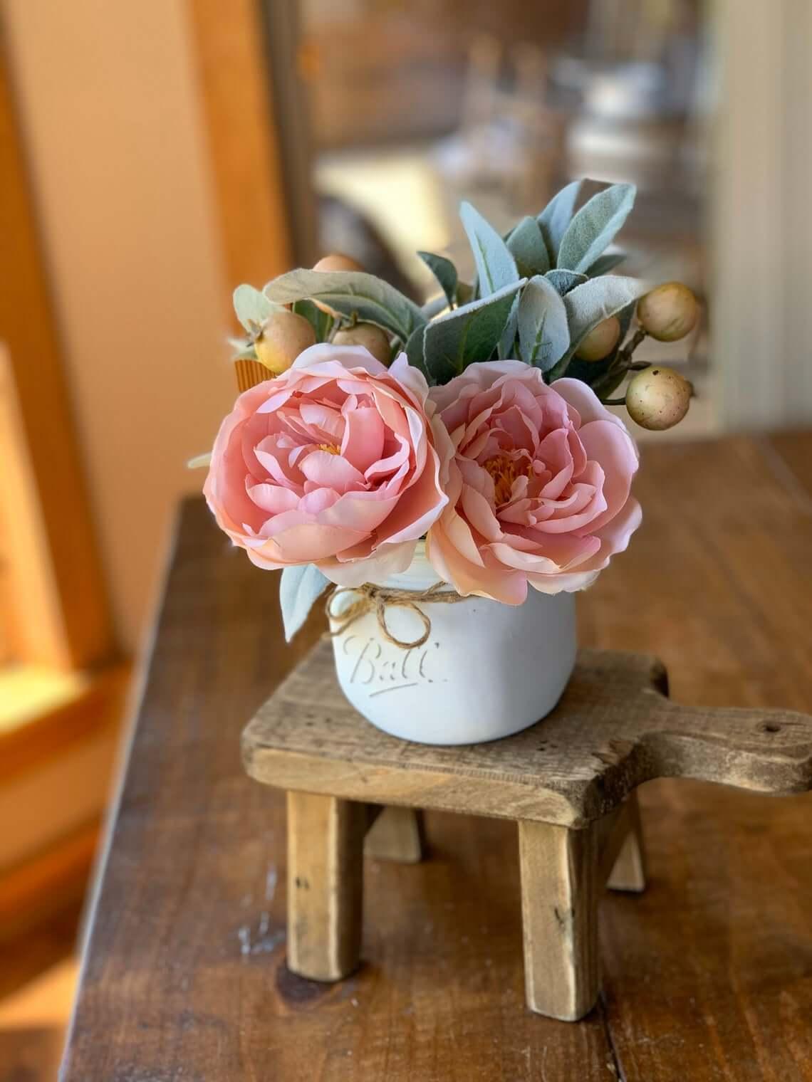 Miniature Mason Jar Painted Flower Vase