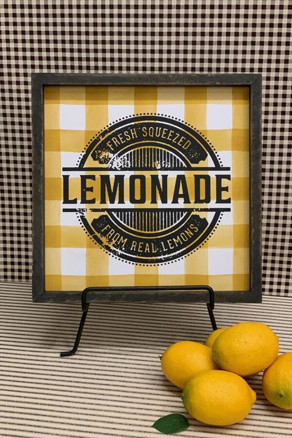 Yellow Buffalo Plaid Fresh Lemonade Farmhouse Sign