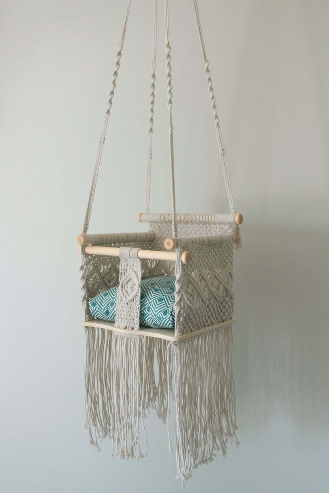 Charming and Cute Cushioned Macrame Baby Swing
