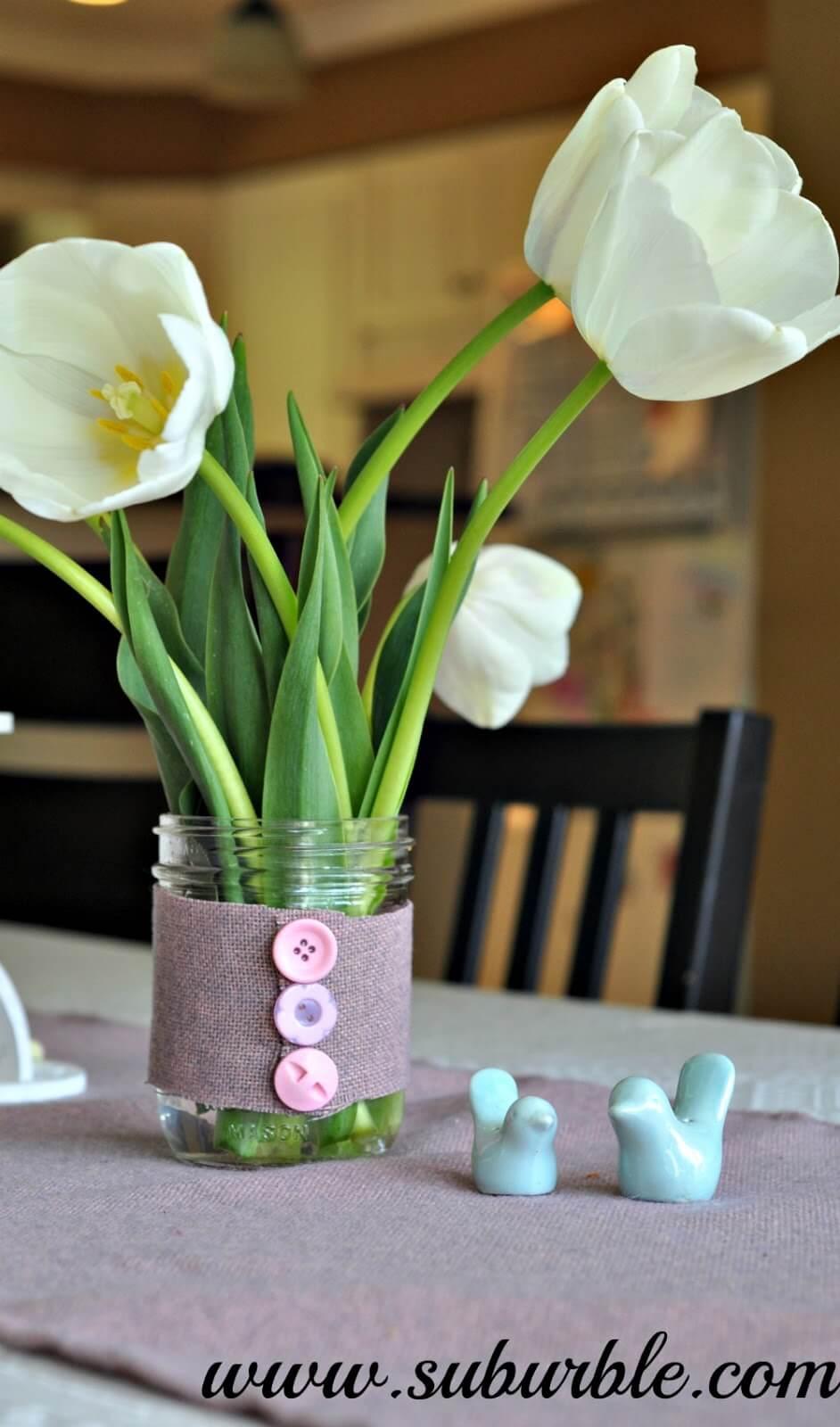 Cute as a Button Mason Jar Vase