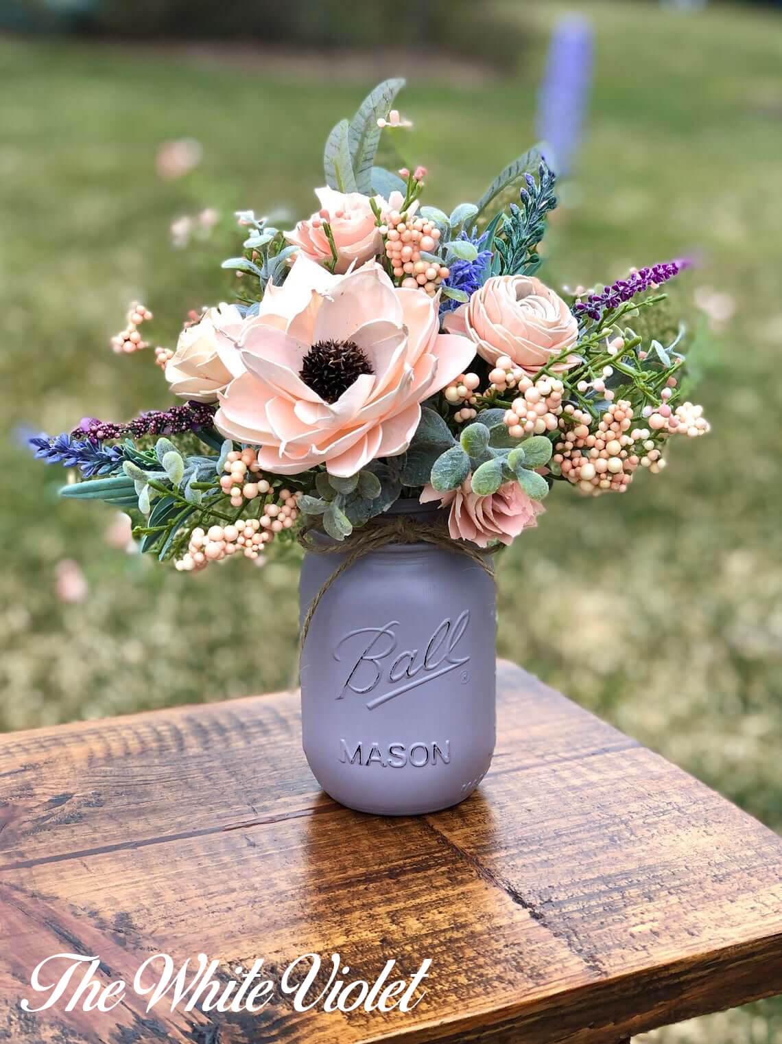Purple Gray Painted Mason Jar Vase