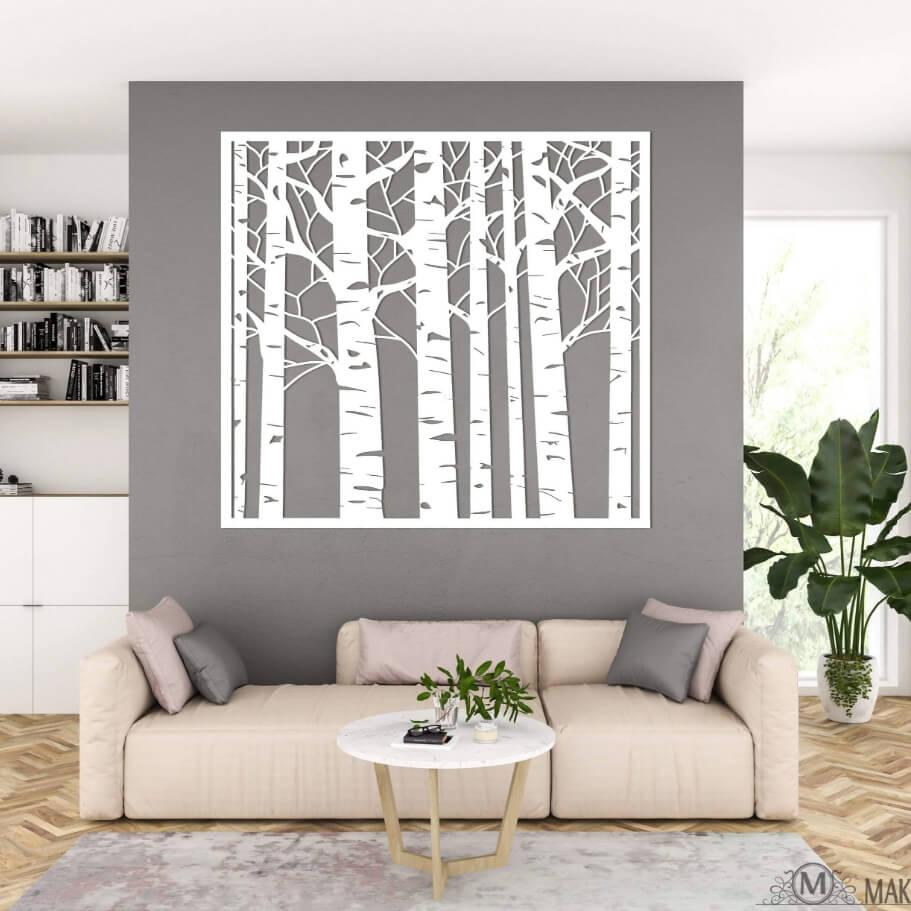 Beautiful Birch Trees Silhouette Statement Wall