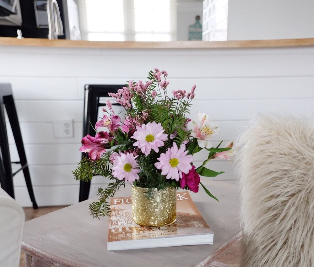 Gold Covered Metal Can Flower Vase
