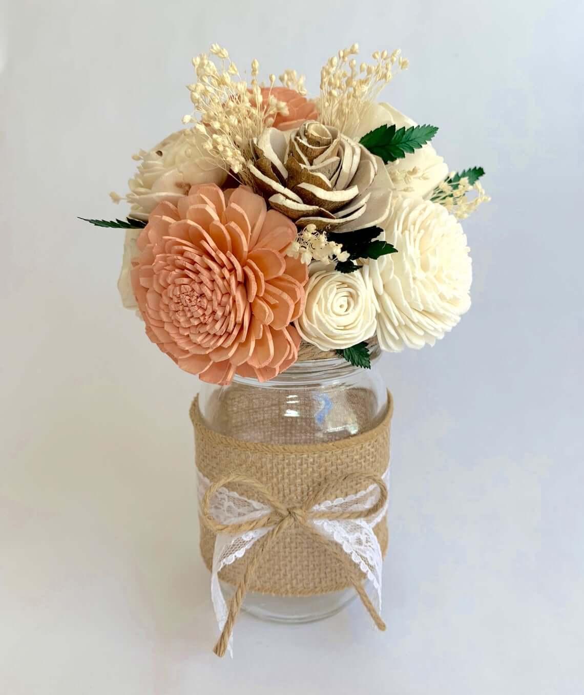 Rustic Country Burlap and Bows Jar Vase