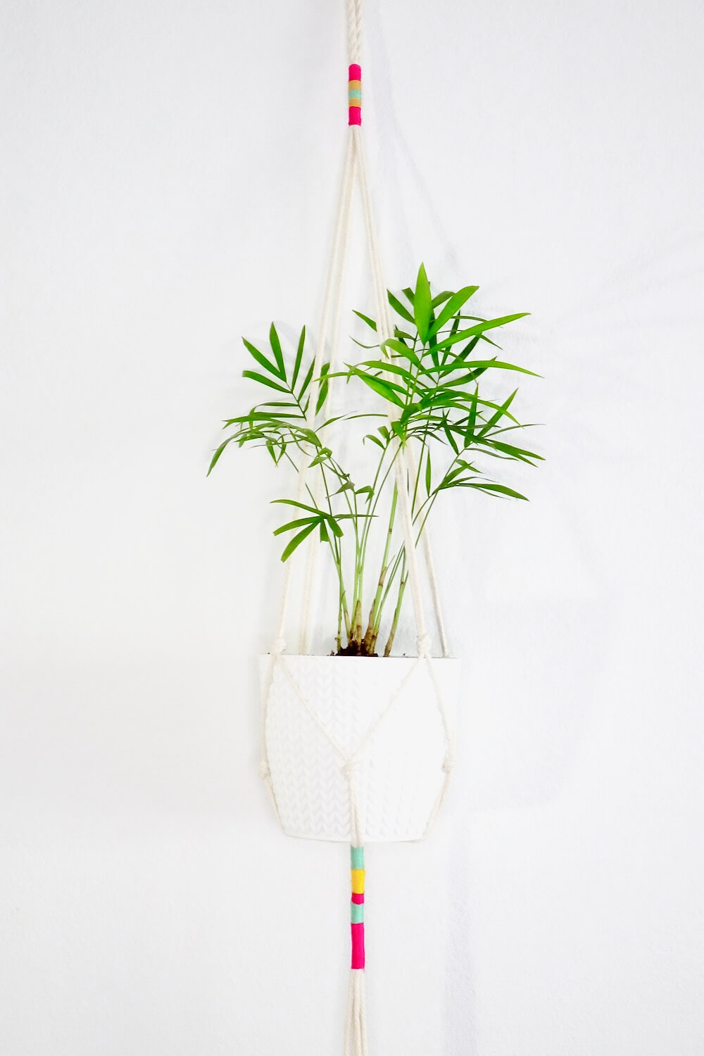 White and Bright Macrame Hanging Planter