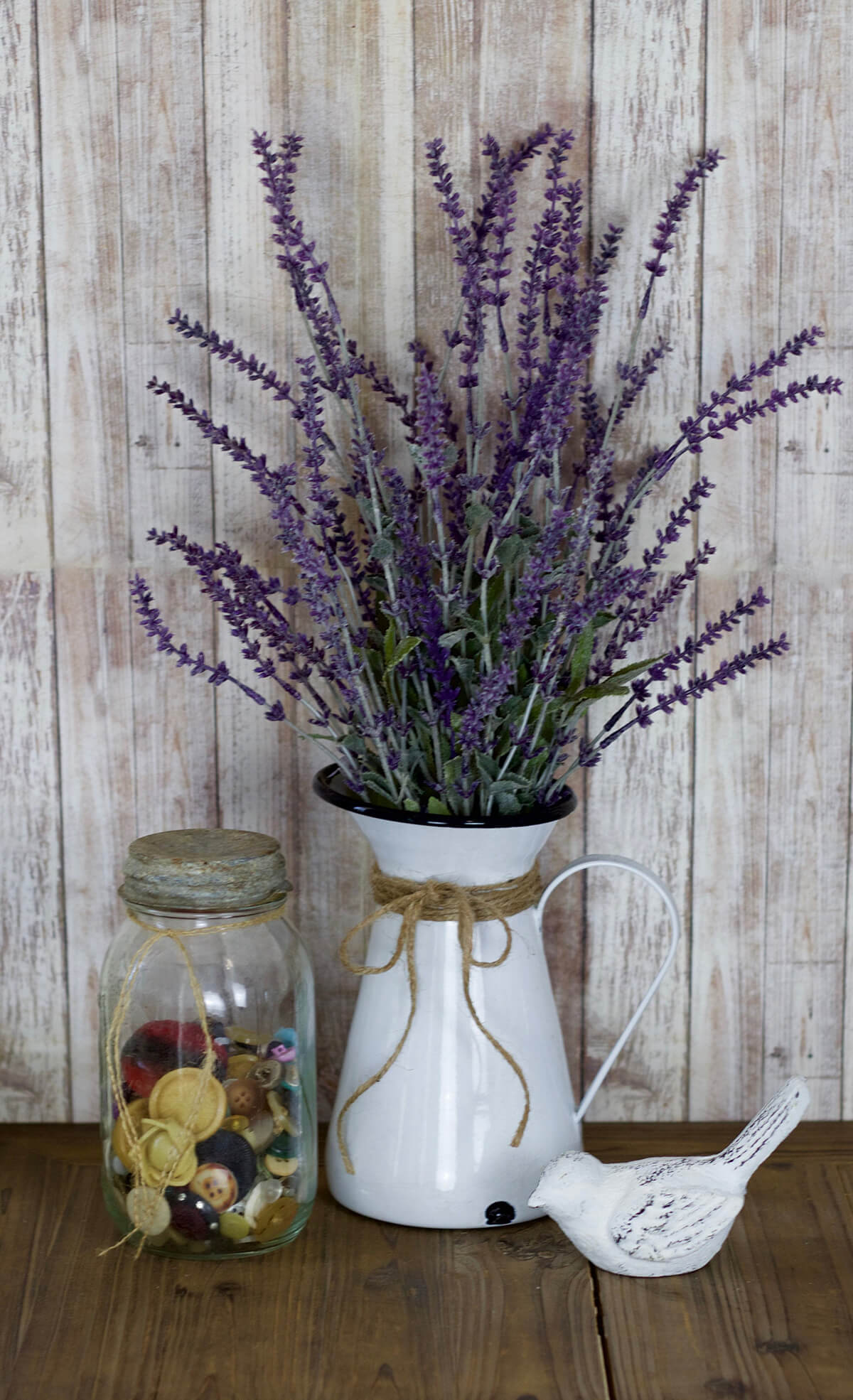 Farmhouse Style Pitcher with Lavender