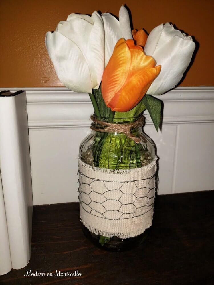 Chicken Wire and Ribbon Farmhouse Vase