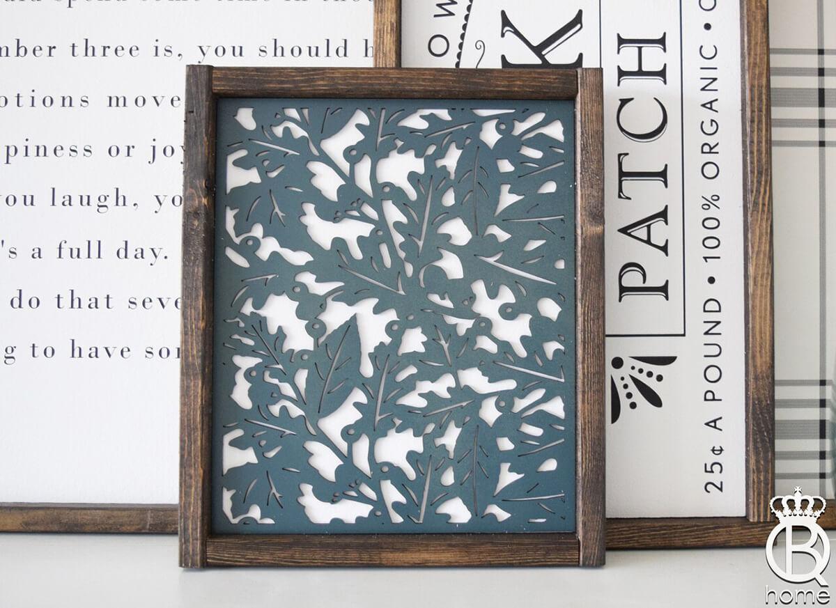 Lovely Laser Cut Wooden Leaf Square