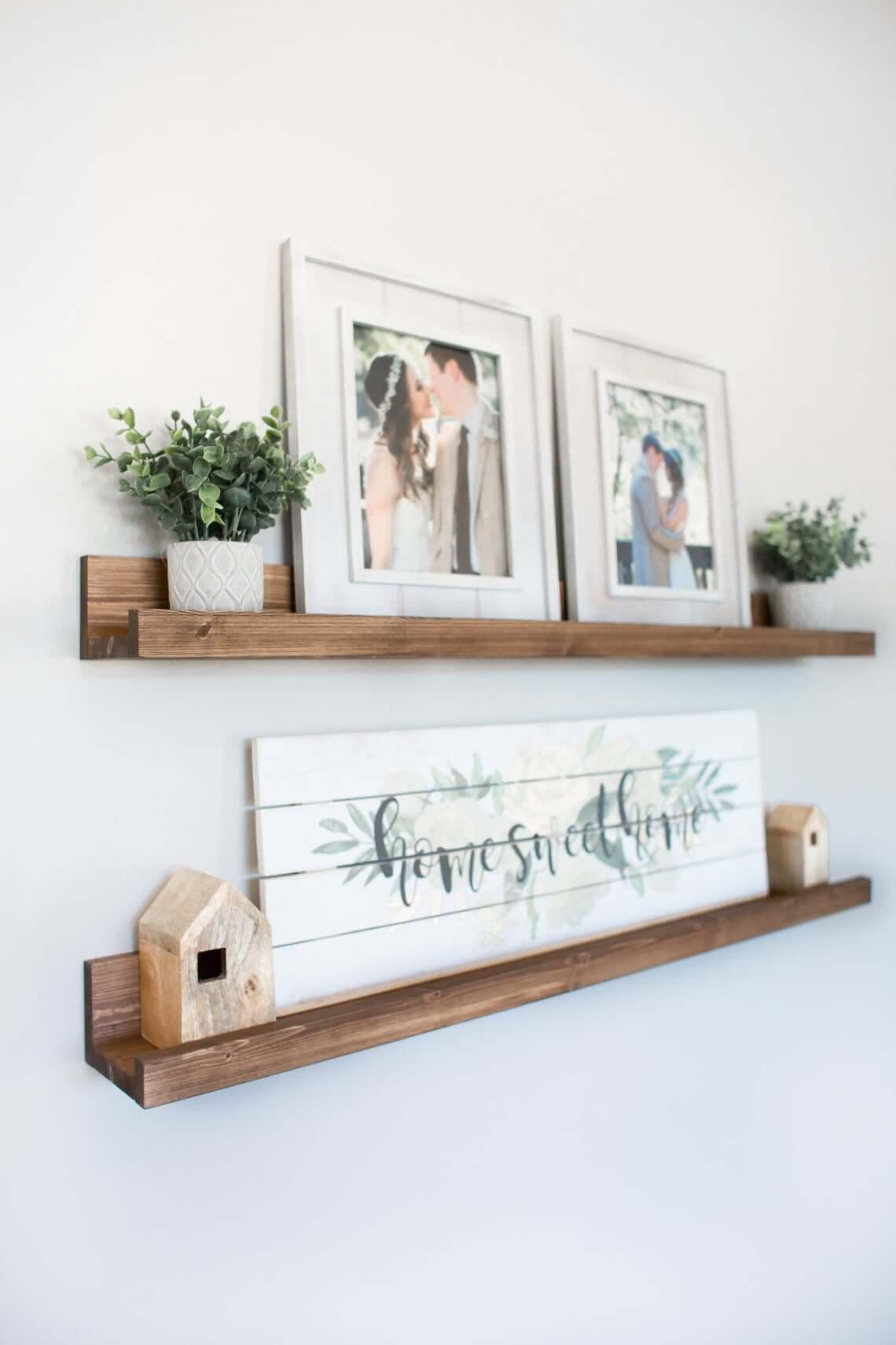 Decorative Wooden Tray Ledge Shelf