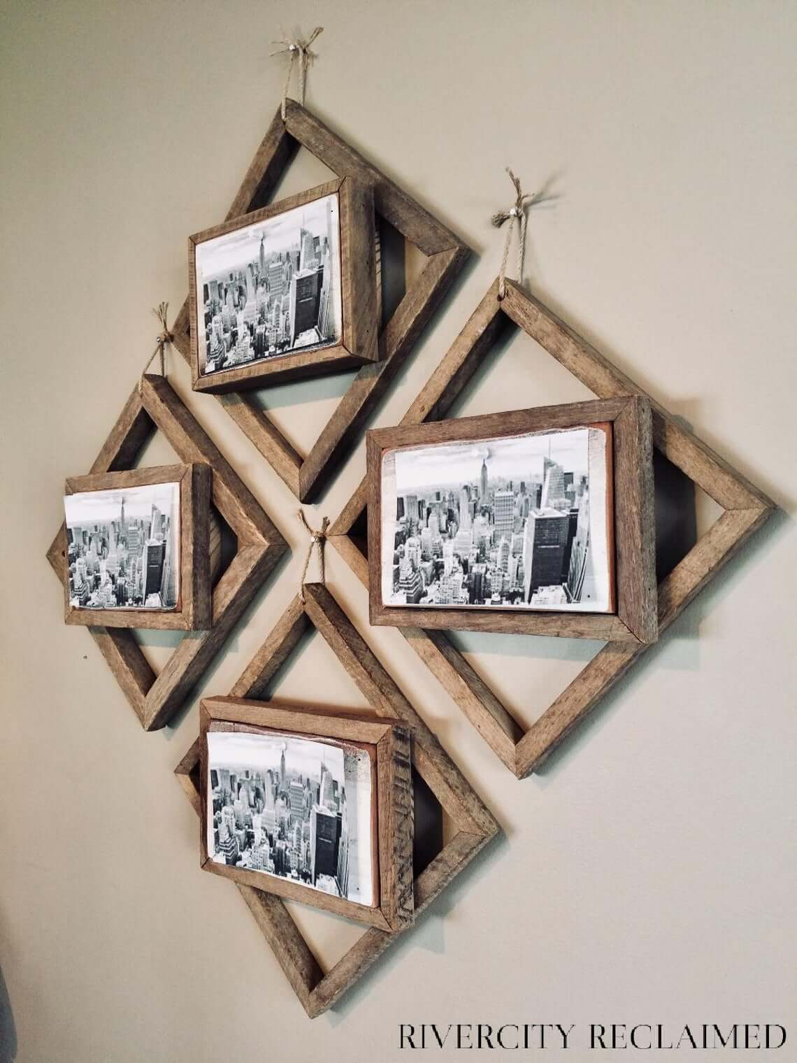 Dynamic Geometric Wooden Picture Hangers for Wall