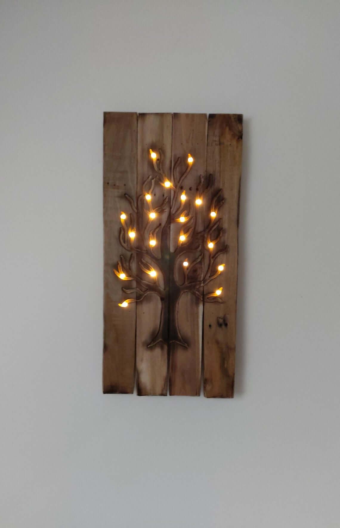 Unique Pre-Lit Tree Wooden Wall Art