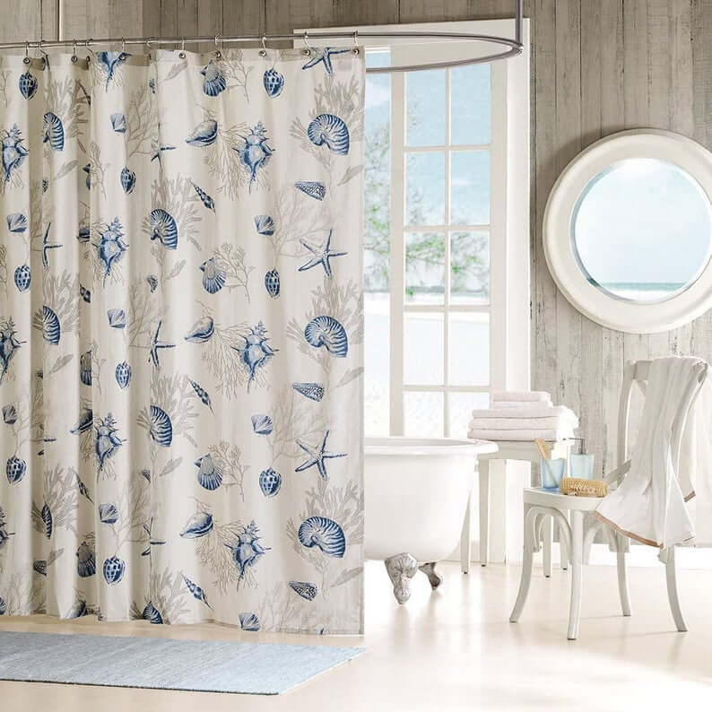 Blue and Gray Sea Shower Curtain