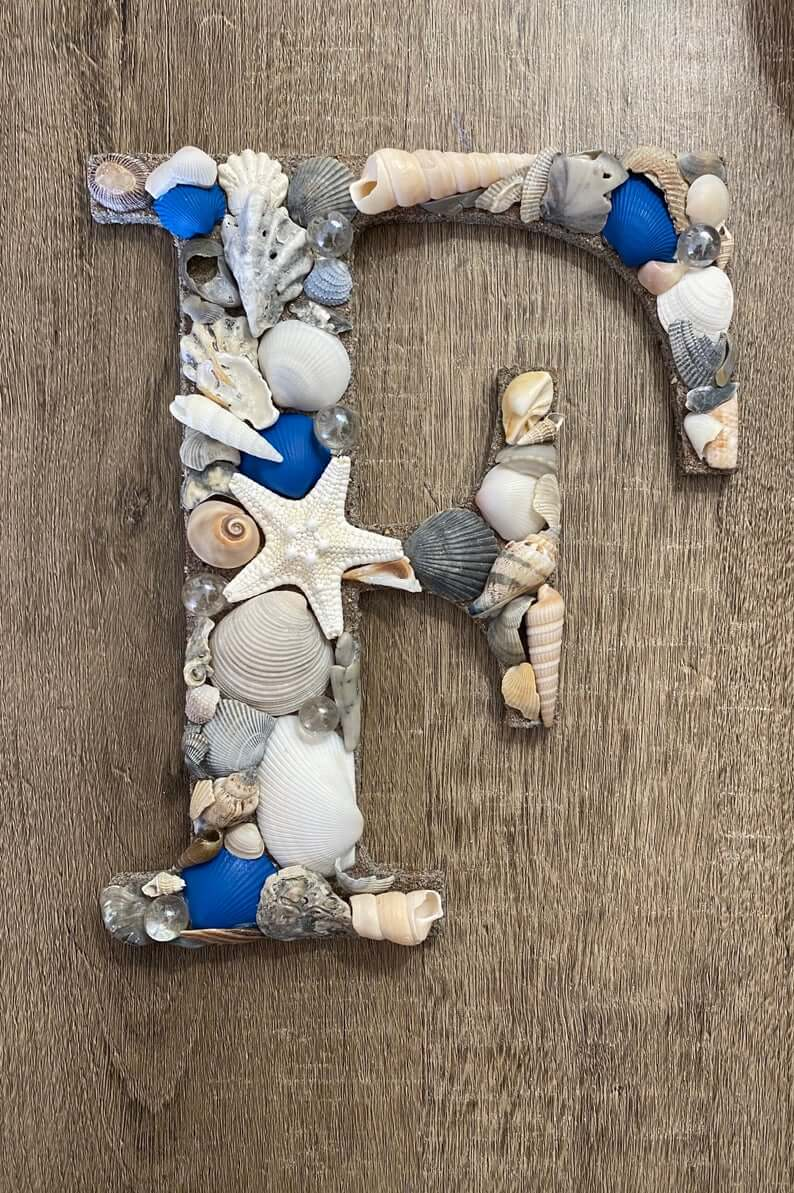 Beige and Blue Seashell Decorated Initial
