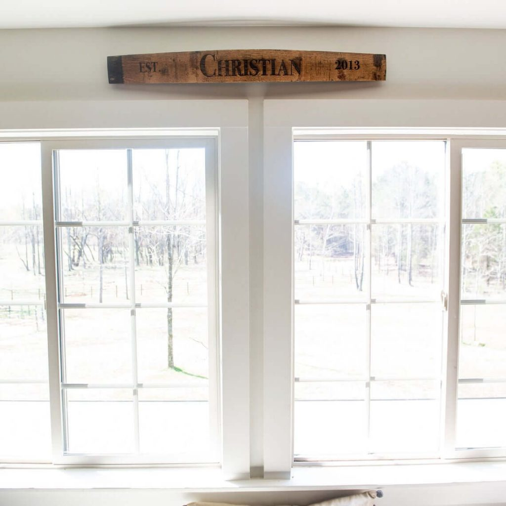 Custom Whiskey Barrel Strip Name Sign