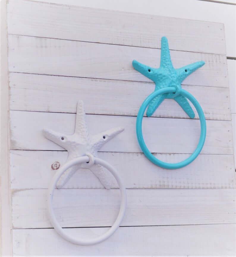 Painted Starfish Towel Rings