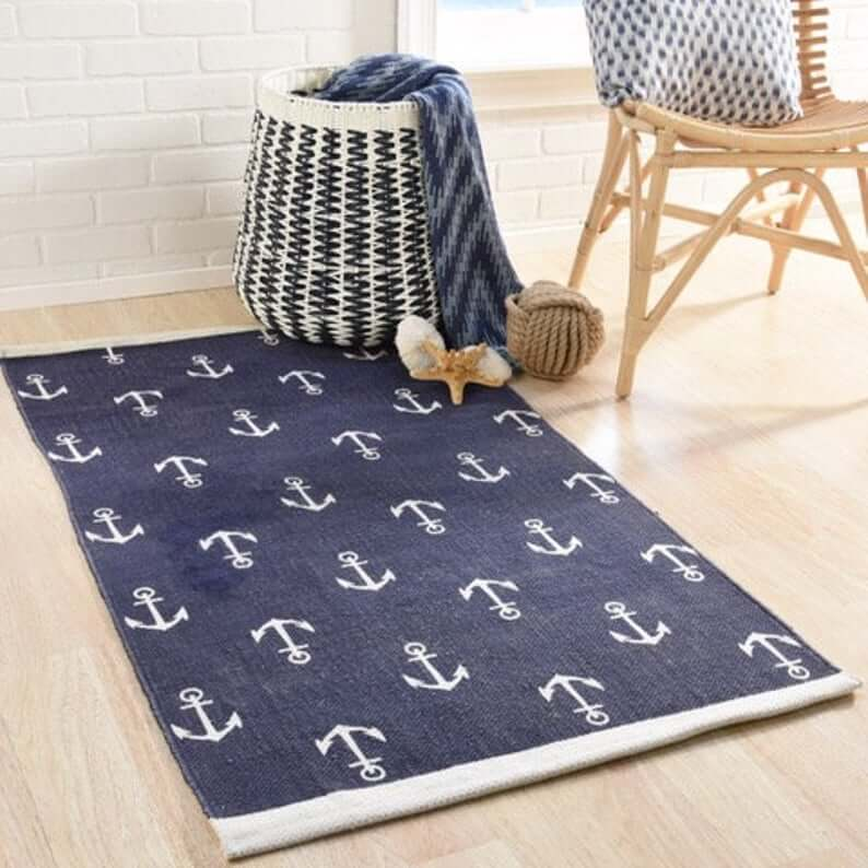 Anchors Away Nautical Blue and White Rug