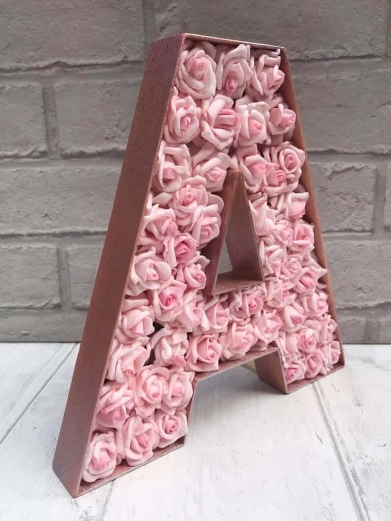 Rose Bud Studded Initial Bedroom Decor