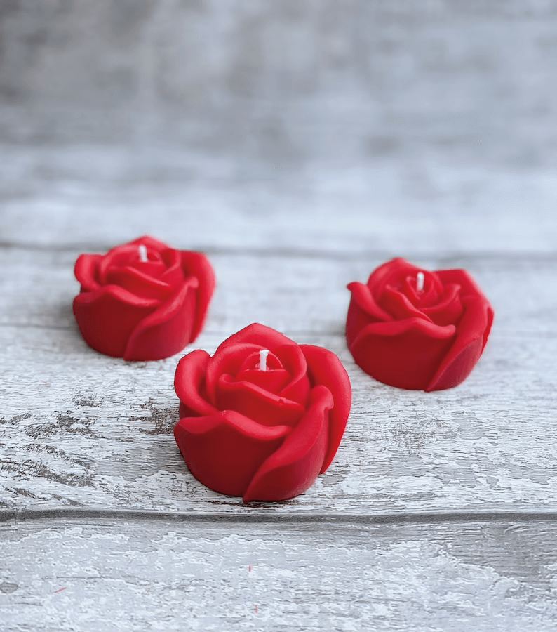 Trio of Romantic Red Rose Candles