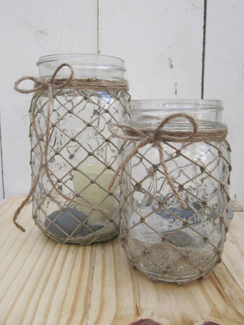 Twine Webbed Nautical Mason Jar Decorations