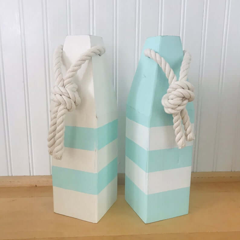 Mint Green and White Wooden Buoys