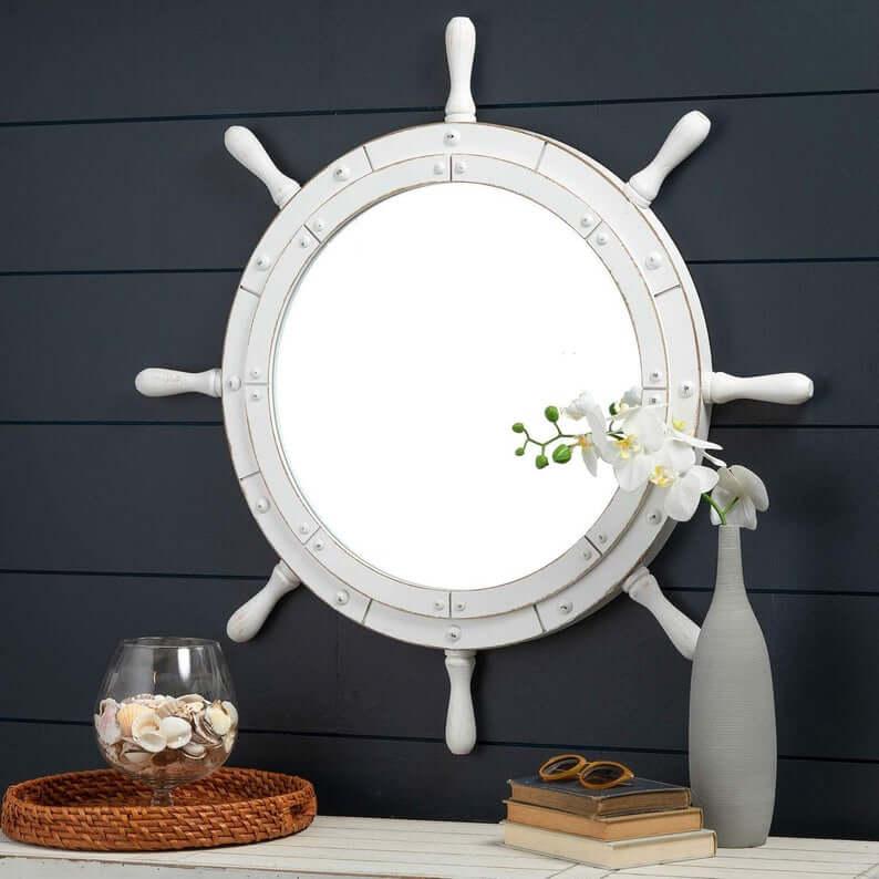 White Ship's Wheel Decorative Mirror