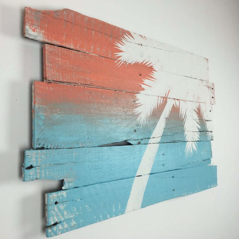 Painted Palm Tree Reclaimed Wood Wall Art