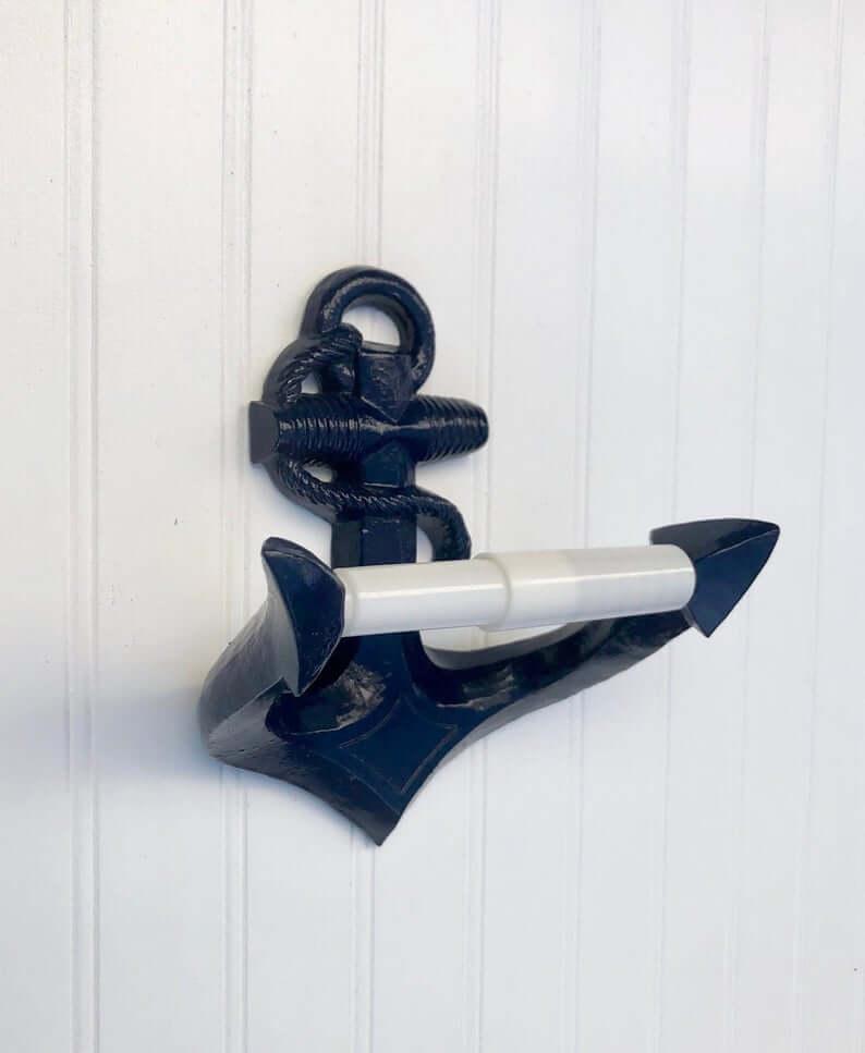 Deep Sea Blue Anchor Toilet Roll Holder