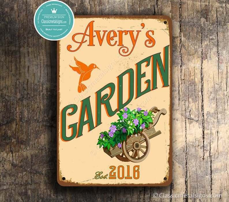 Personalized Garden Sign with Hummingbird