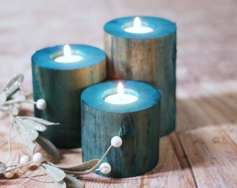 Sea Blue Dyed Wooden Tea Light Holders