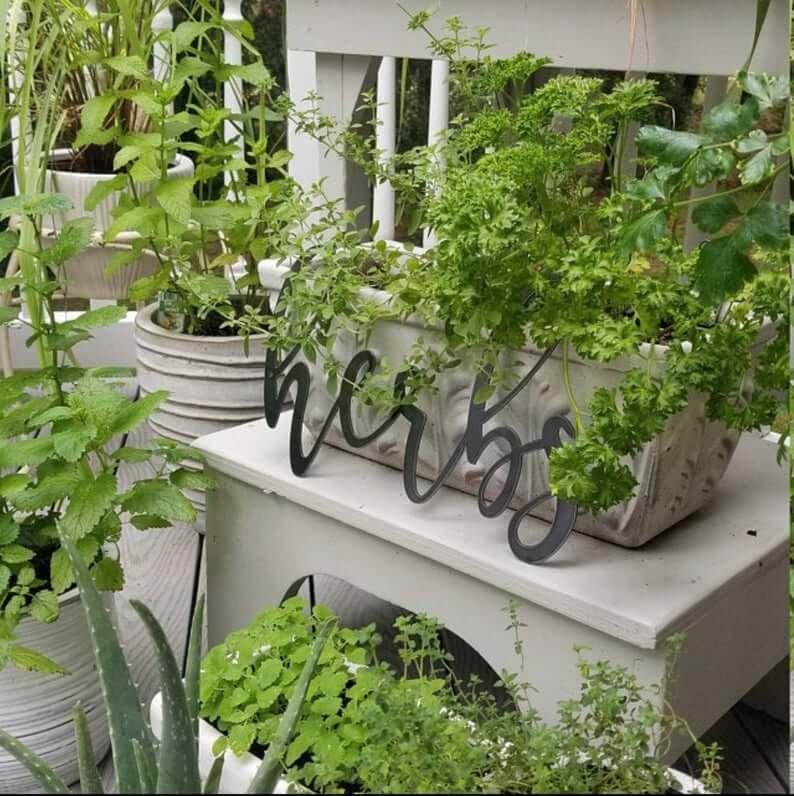 Metal Script Herbs Garden Decoration