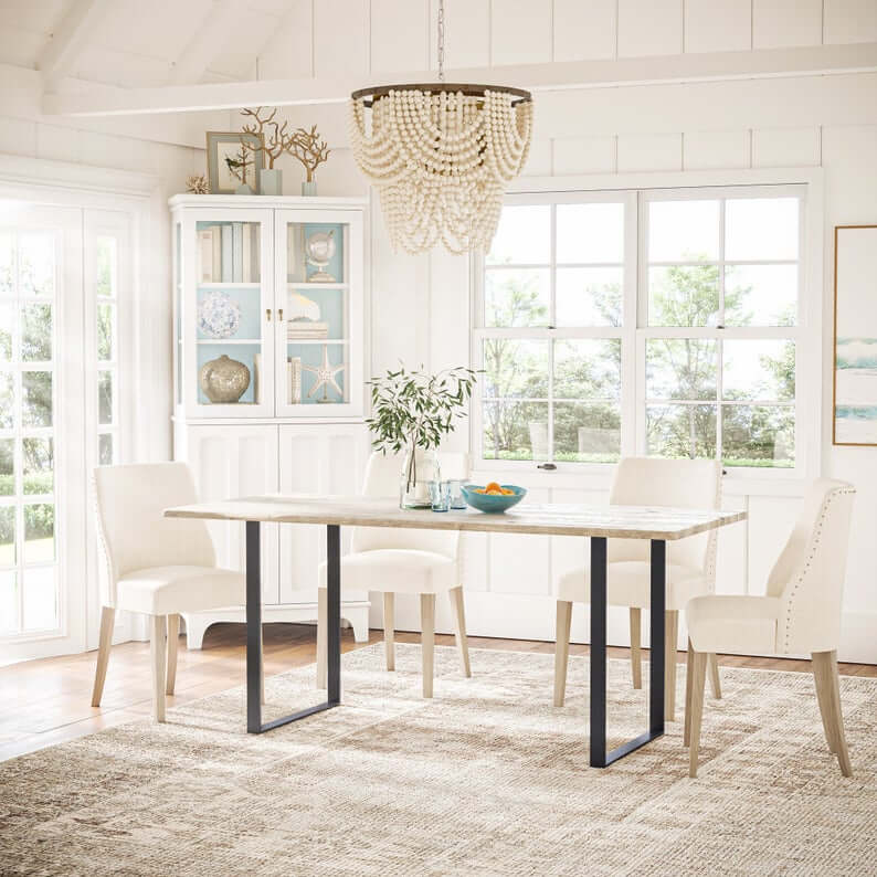 Beach House Wood and Metal Dining Table