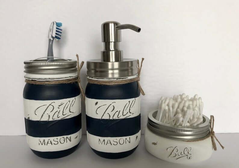 Striped Mason Jar Bathroom Organization