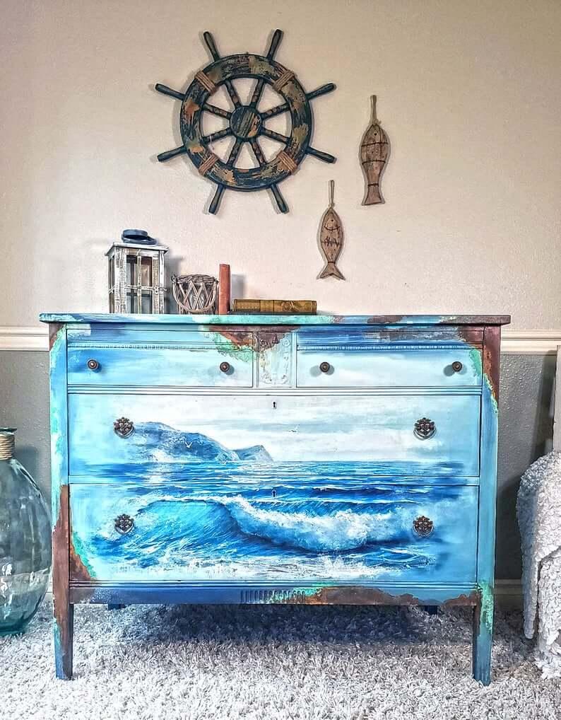 Hand Painted Coastal Landscape Waves Wooden Dresser
