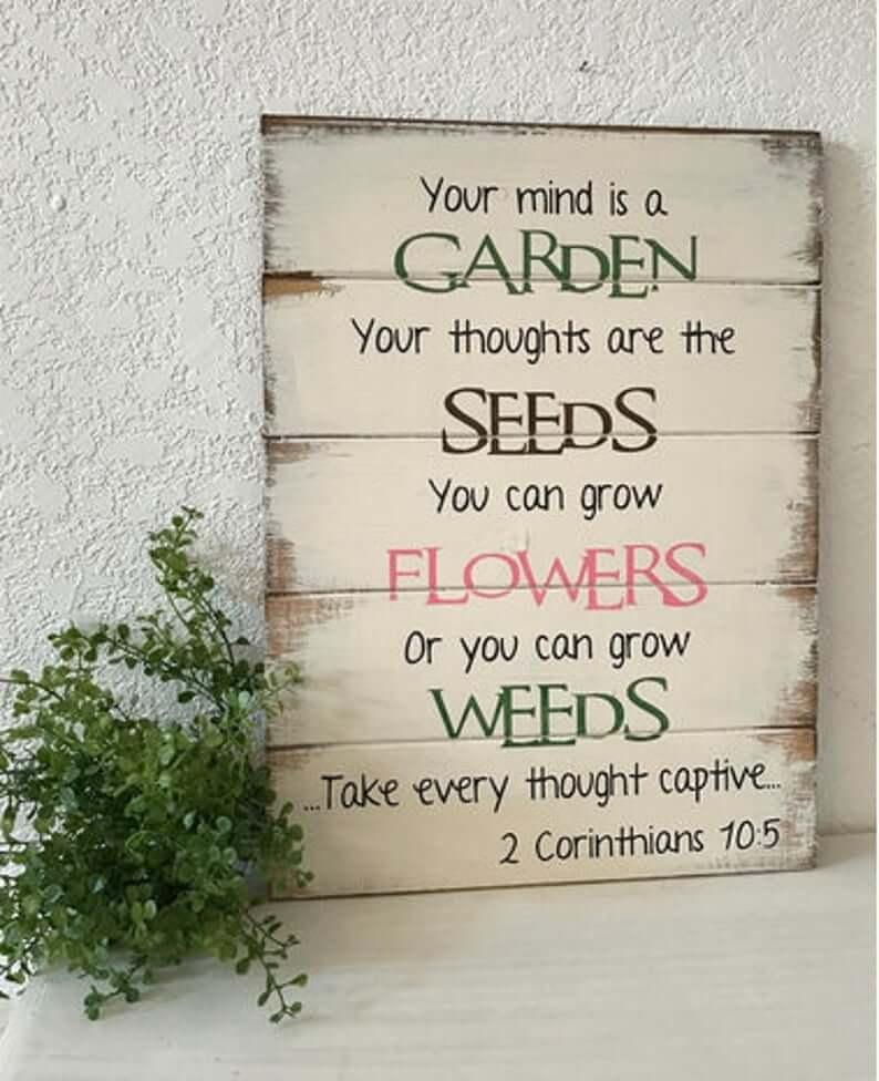 Grow Flowers Not Weeds Garden Sign
