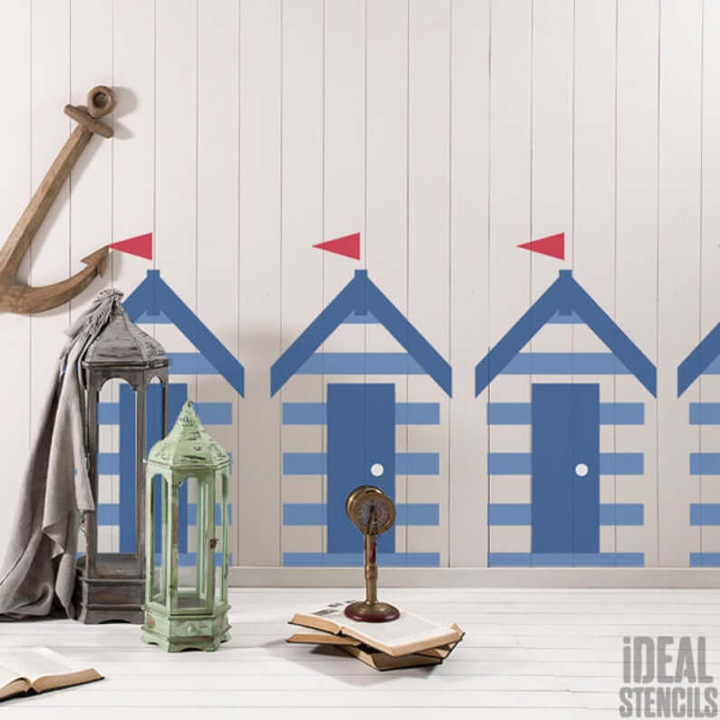 Stenciled Row of Beach Huts Wall Accent