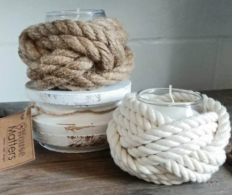 Nautical Rope Wrapped Candle Jars