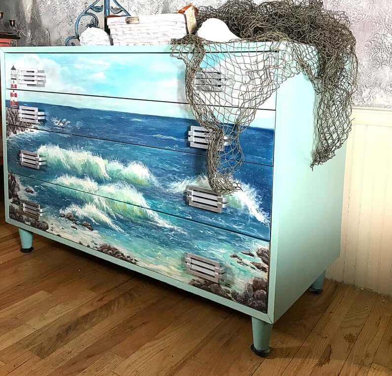 Lighthouse and Crashing Waves Seascape Dresser