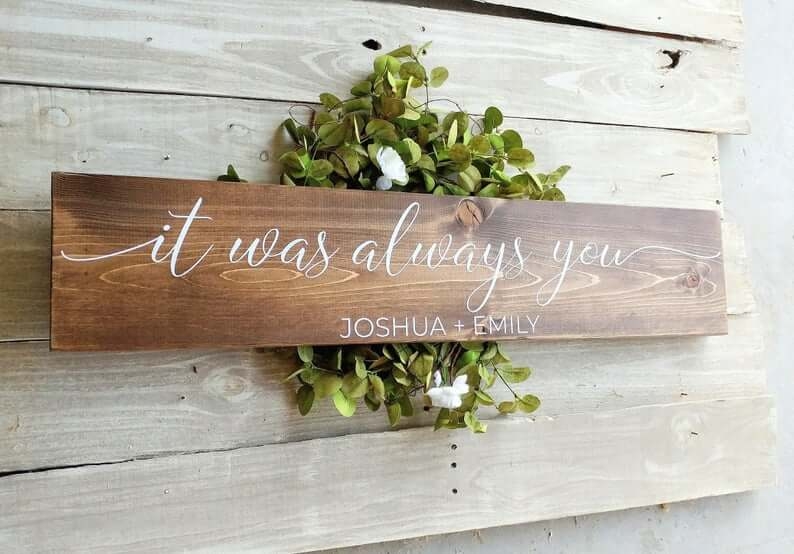 Personalized Always You Wooden Wall Art Sign