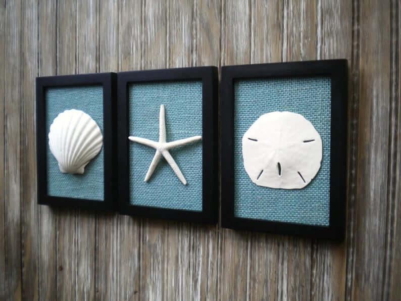 Shell, Sand Dollar, and Starfish Art Trio