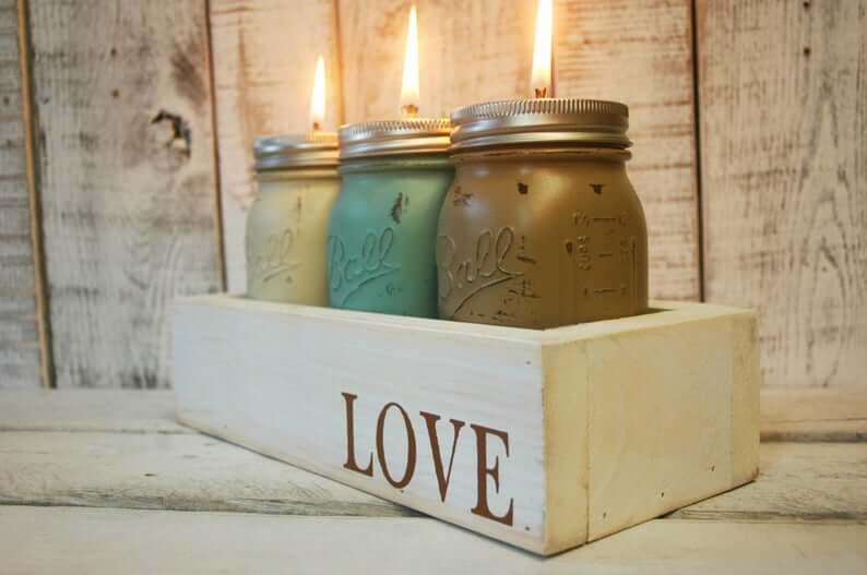 Love Filled Oil Lamp Mason Jar Box