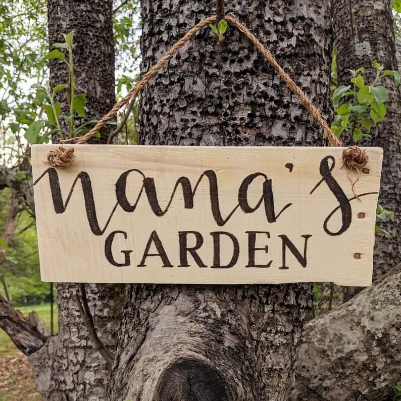 Plain and Rustic Nana's Garden Sign
