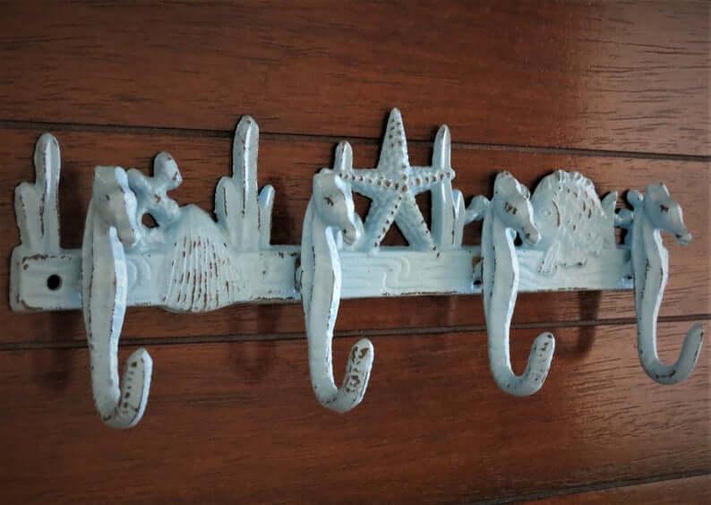 Rustic and Vintage Seahorse Hooks Strip