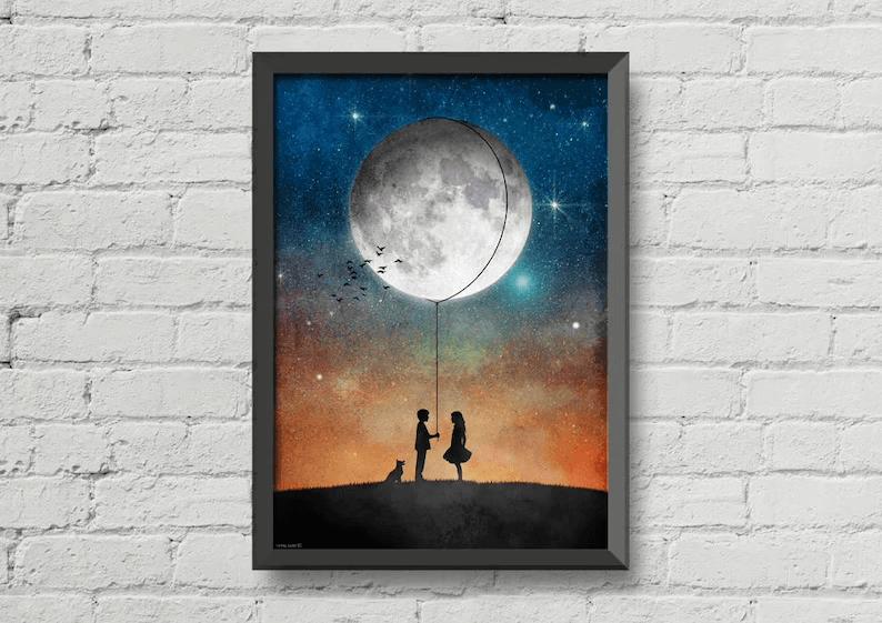 Romantic Rope the Moon Love Print