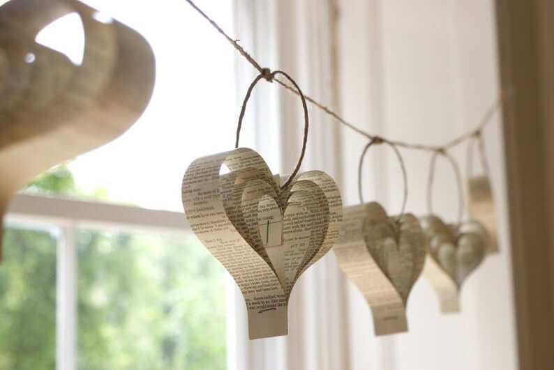 Love Letter Repurposed Heart Garland String