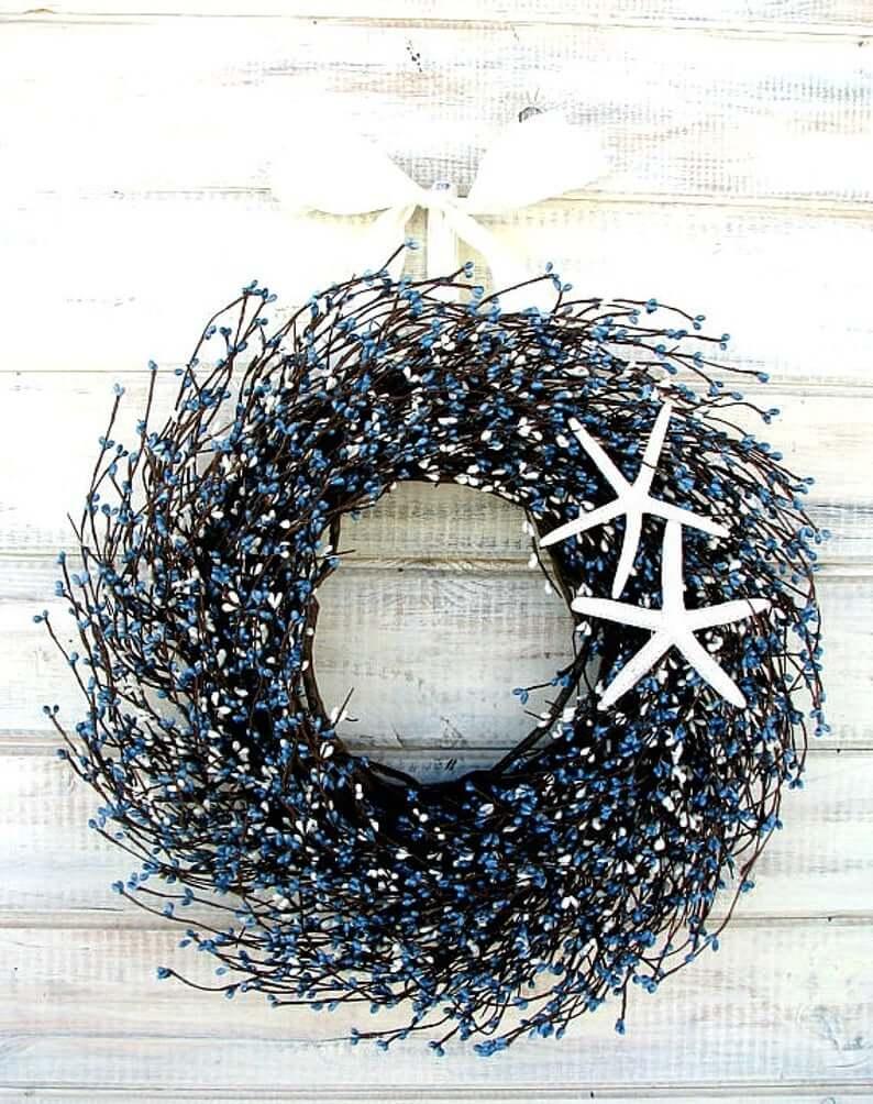 Blue Beaded Berry Nautical Starfish Wreath