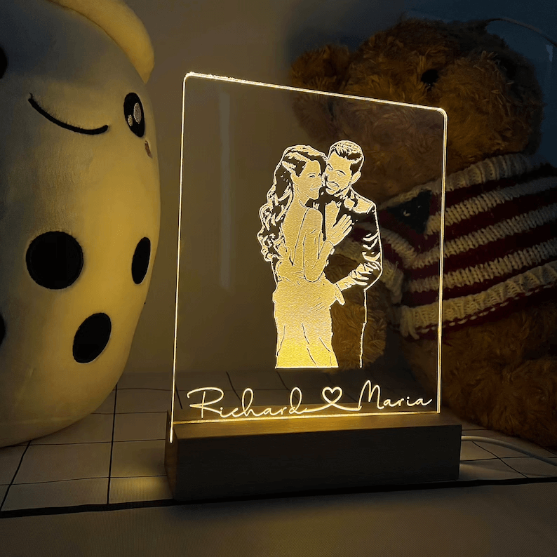 Personalized Etched Photo Bedside Table Lamp