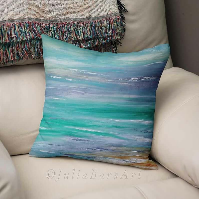 Ocean Blue Watercolor Sea Inspired Pillow