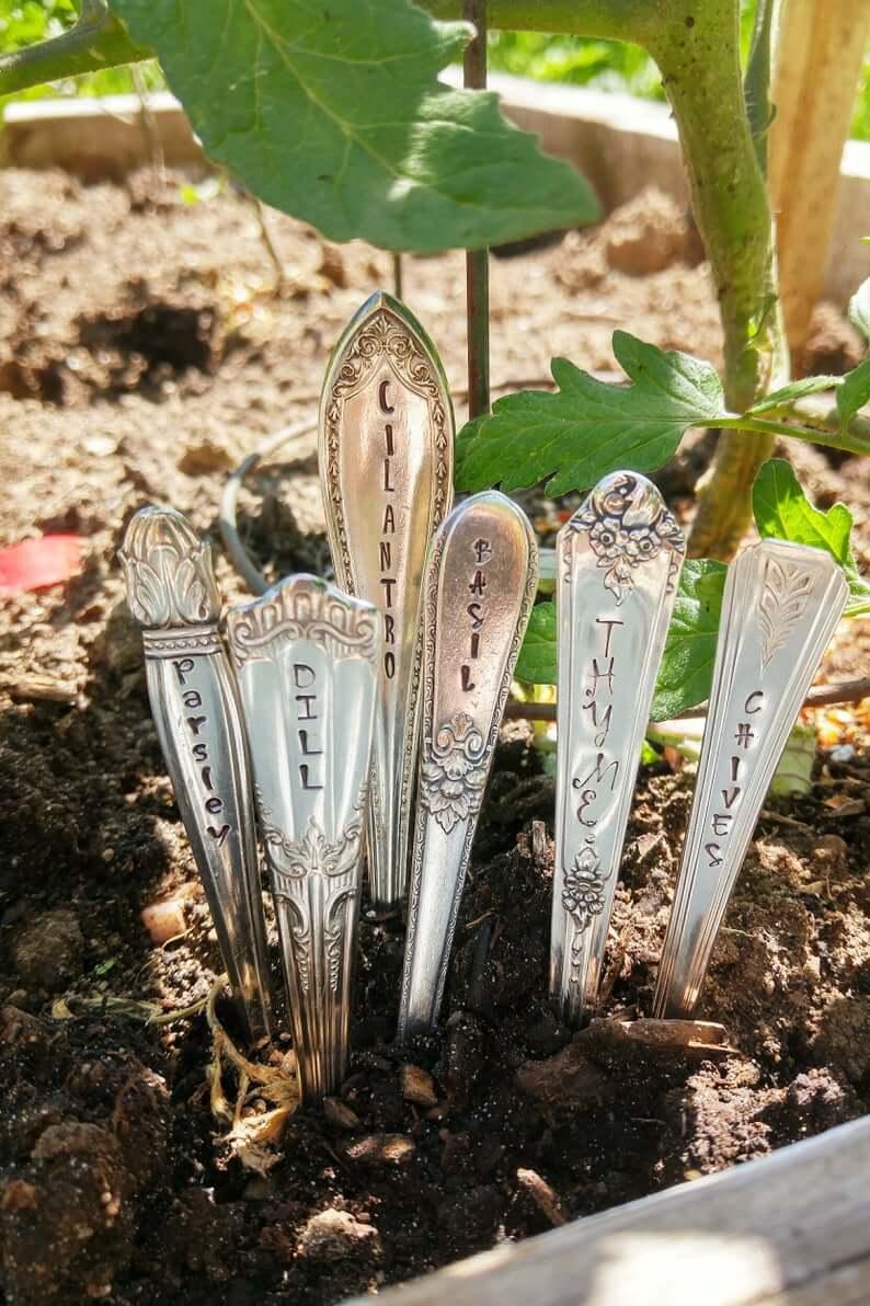 Engraved Used Utensil Garden Markers